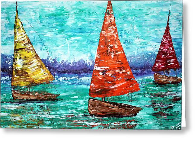 Yellow Sailboats Mixed Media Greeting Cards - Sailboat Dreams Greeting Card by Laura Barbosa