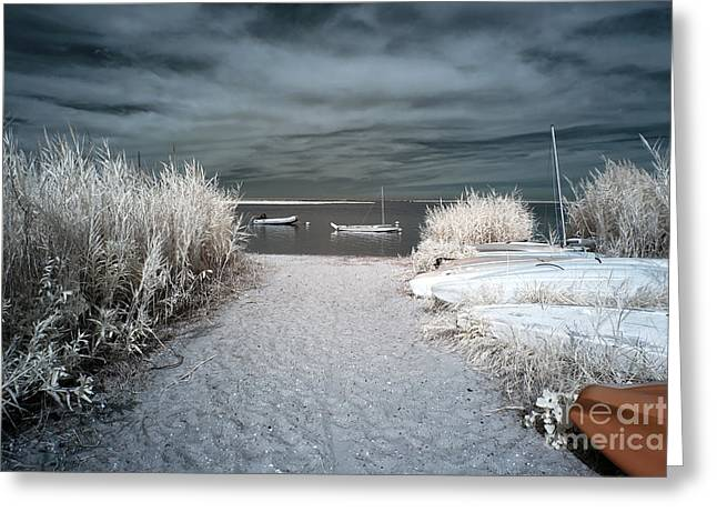 Sailboat Entry Infrared Blue Greeting Card by John Rizzuto