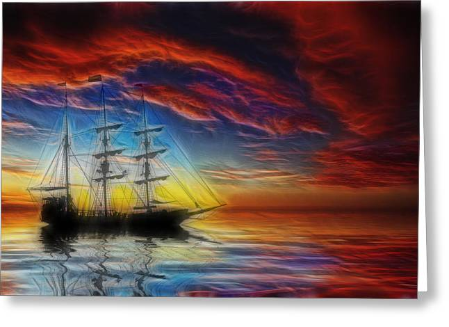 Pirates Mixed Media Greeting Cards - Sailboat Fractal Greeting Card by Shane Bechler