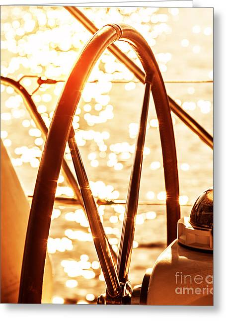 Boat Cruise Greeting Cards - Sailboat helm  Greeting Card by Anna Omelchenko