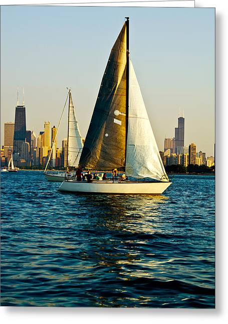 Sailboat Images Greeting Cards - Sailboat In A Lake, Lake Michigan Greeting Card by Panoramic Images