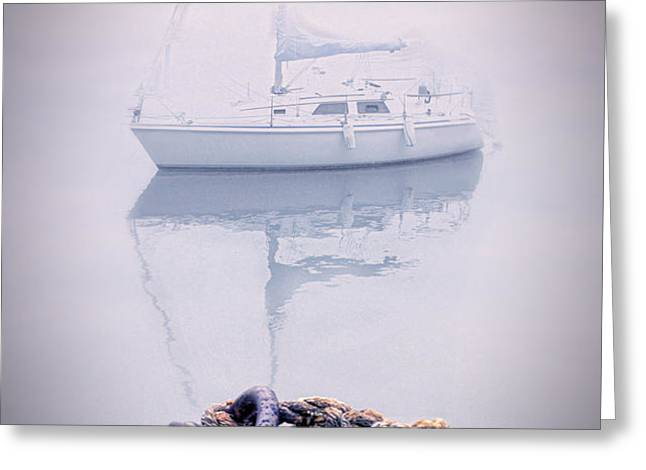 Sailboat in Fog Greeting Card by Jill Battaglia