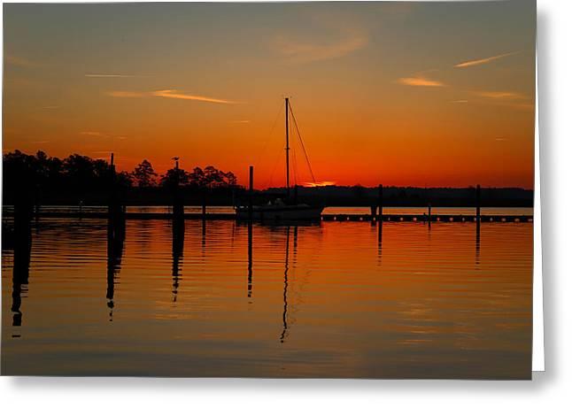 Sailboat Images Greeting Cards - Sailboat in the Bay Greeting Card by Brian Hamilton