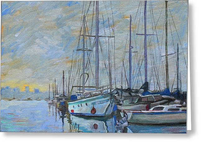 Blue Sailboats Greeting Cards - Sailboat in the evening fog Greeting Card by Dominique Amendola