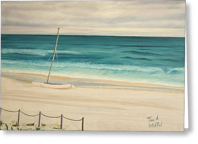 Sailboat In The Ocean Breeze Greeting Card by Tina Stoffel