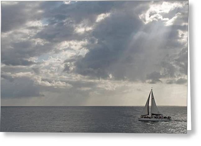 Sailboat Images Greeting Cards - Sailboat In The Sea, Negril, Jamaica Greeting Card by Panoramic Images