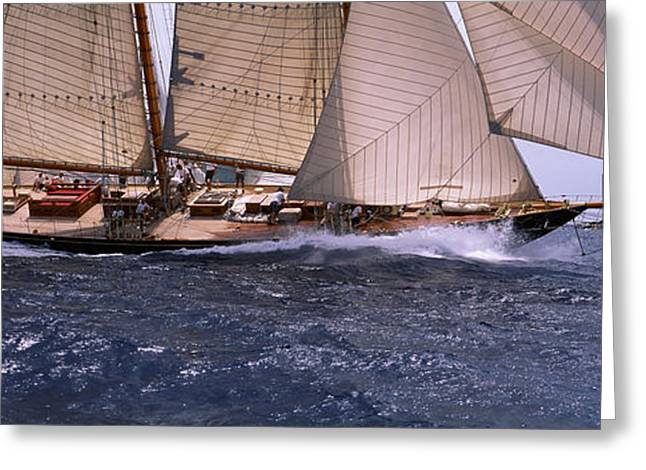 Antigua Greeting Cards - Sailboat In The Sea, Schooner, Antigua Greeting Card by Panoramic Images