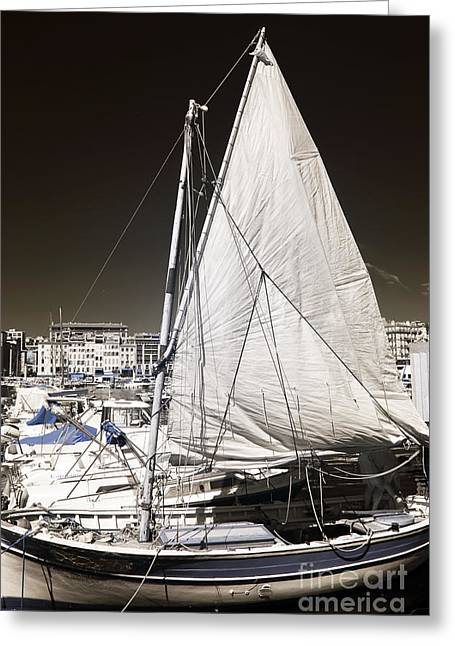 Sailboat Art Greeting Cards - Sailboat in Vieux Port Greeting Card by John Rizzuto