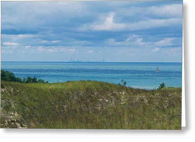 Sailboat In Water, Indiana Dunes State Greeting Card by Panoramic Images