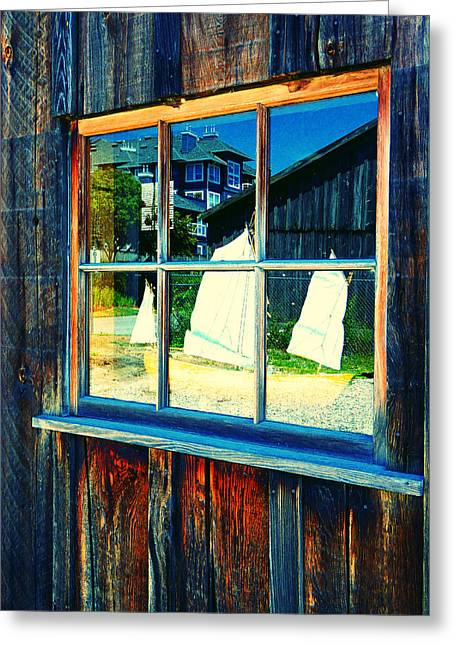 Toy Boat Greeting Cards - Sailboat in Window 2 Greeting Card by Laurie Tsemak