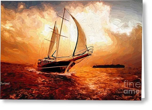Sailboat Art Mixed Media Greeting Cards - Sailboat Into the Unknown Greeting Card by Garland Johnson