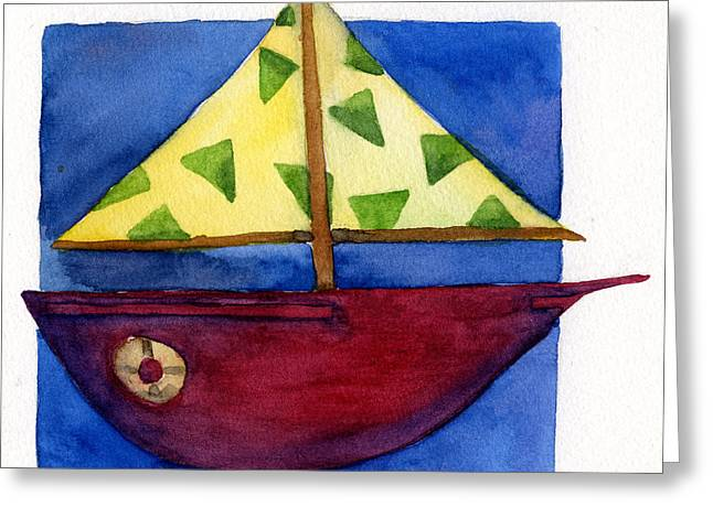 Toy Boat Paintings Greeting Cards - Sailboat Greeting Card by Kerrie  Hubbard