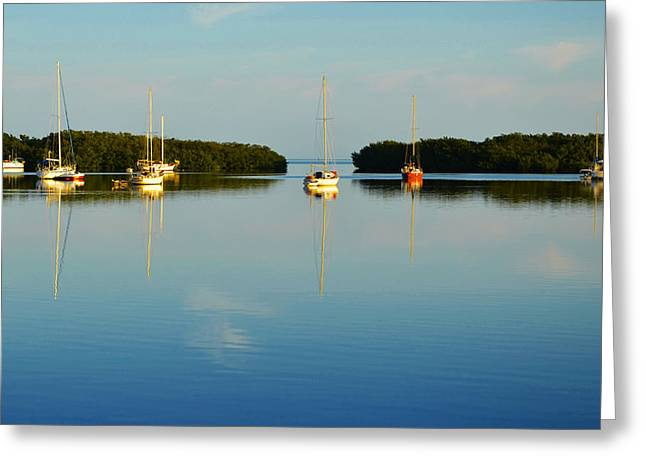 Tavernier Greeting Cards - Sailboat Lagoon Greeting Card by Kent Roberts
