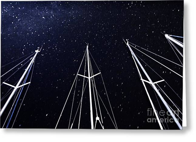 Sailboat Photos Greeting Cards - Sailboat mast on starry sky background Greeting Card by Anna Omelchenko
