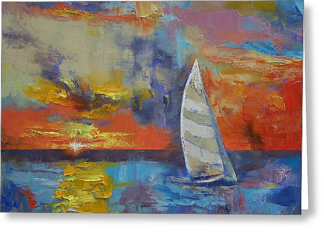 Lilac Greeting Cards - Sailboat Greeting Card by Michael Creese