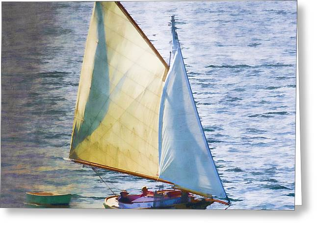 Blue Sailboat Greeting Cards - Sailboat Off Marthas Vineyard Massachusetts Greeting Card by Carol Leigh