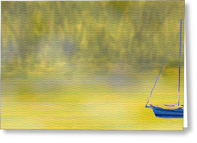 Yellow Sailboats Digital Art Greeting Cards - Sailboat On A Yellow Sea Greeting Card by Ian  MacDonald