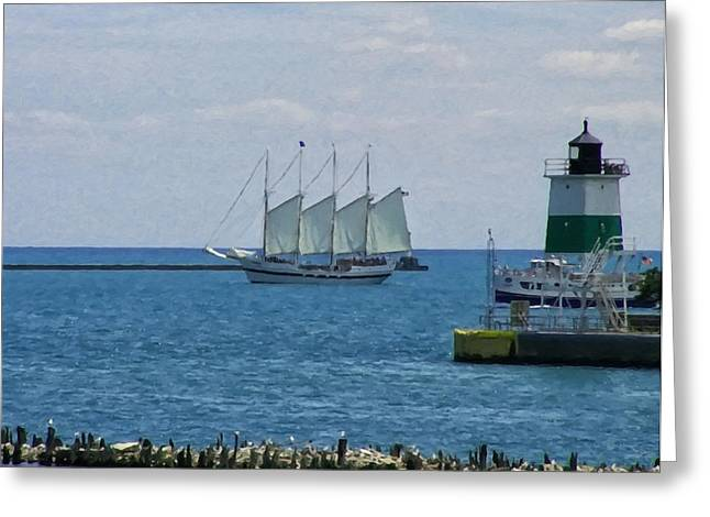 Landscape Posters Greeting Cards - sailboat on Lake Michigan Greeting Card by Chris Flees