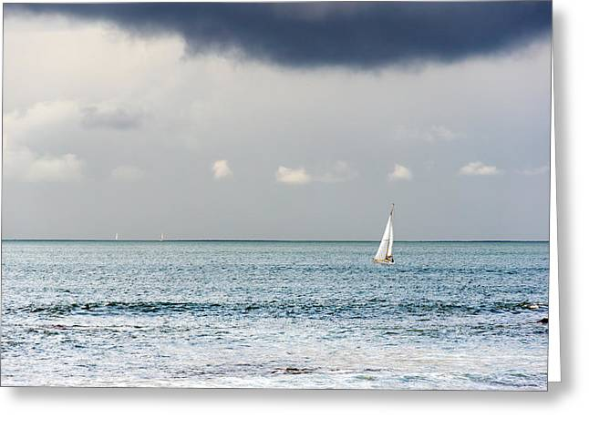 One Sailboat Greeting Cards - Sailboat On Sea Greeting Card by Mikel Martinez de Osaba