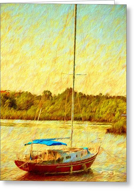 Cabin Interiors Digital Greeting Cards - Boating - Coastal - Sailboat on the Bayou  Greeting Card by Barry Jones
