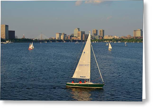 Charles Bridge Digital Greeting Cards - Sailboat on the Charles River Greeting Card by Toby McGuire