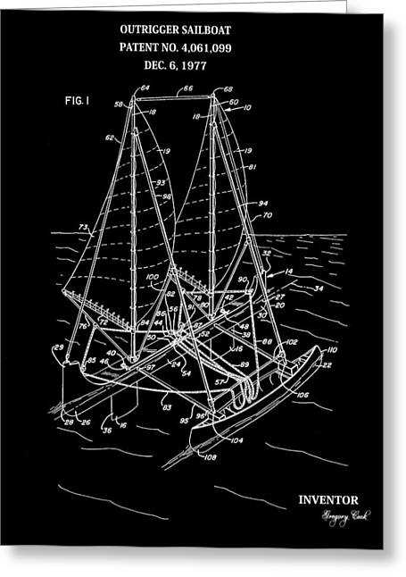 Buoyancy Greeting Cards - Sailboat Patent Black And White Greeting Card by Dan Sproul