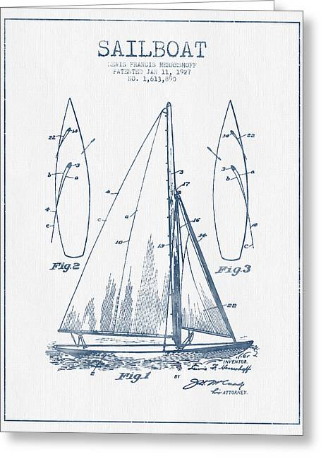 Watercolor! Art Greeting Cards - Sailboat Patent Drawing From 1927  -  Blue Ink Greeting Card by Aged Pixel