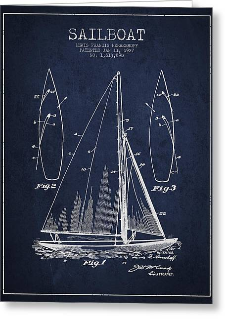 Vintage Boat Greeting Cards - Sailboat Patent Drawing From 1927 Greeting Card by Aged Pixel