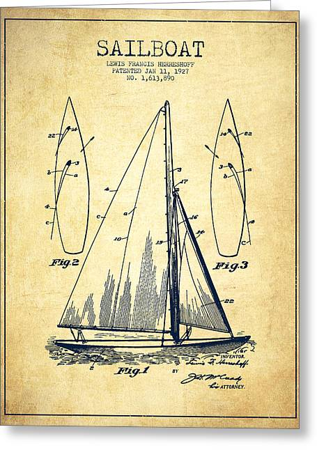 Technical Greeting Cards - Sailboat Patent Drawing From 1927 - Vintage Greeting Card by Aged Pixel