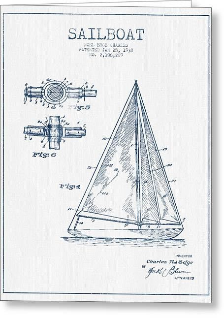 Sailboat Art Greeting Cards - Sailboat Patent Drawing From 1938  -  Blue Ink Greeting Card by Aged Pixel