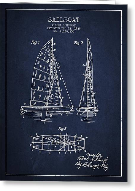 Boat Digital Art Greeting Cards - Sailboat Patent Drawing From 1938 Greeting Card by Aged Pixel