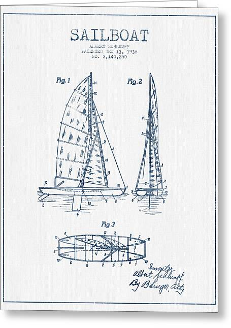Watercolor! Art Greeting Cards - Sailboat Patent Drawing From 1938  - Blue Ink Greeting Card by Aged Pixel