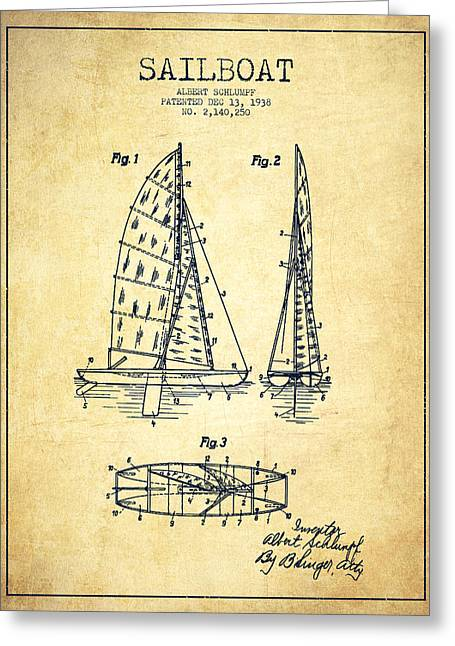 Sailboat Art Greeting Cards - Sailboat Patent Drawing From 1938 - Vintage Greeting Card by Aged Pixel