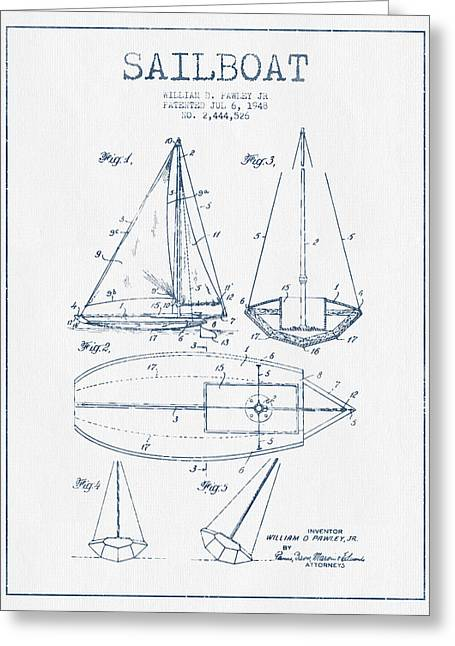Boat Digital Art Greeting Cards - Sailboat Patent Drawing From 1948  -  Blue Ink Greeting Card by Aged Pixel