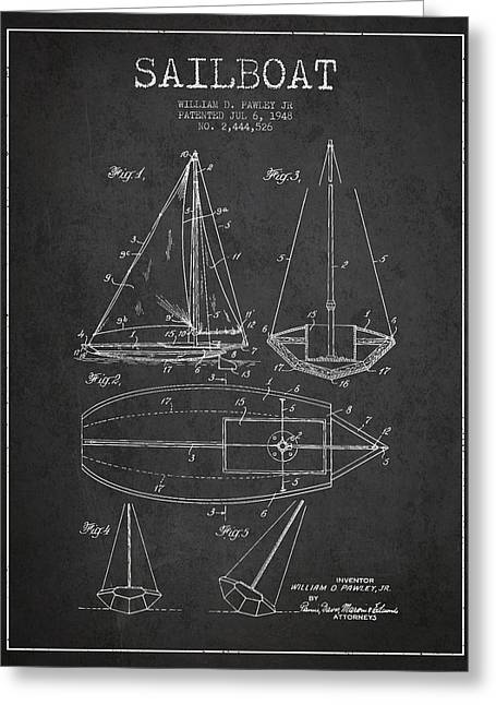 Sailboat Art Greeting Cards - Sailboat Patent Drawing From 1948 Greeting Card by Aged Pixel