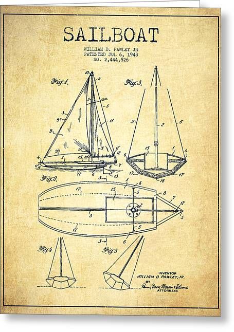 Sailboat Art Greeting Cards - Sailboat Patent Drawing From 1948 - Vintage Greeting Card by Aged Pixel