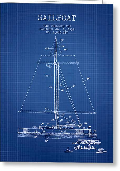 Sailing Digital Greeting Cards - Sailboat Patent from 1932 - Blueprint Greeting Card by Aged Pixel