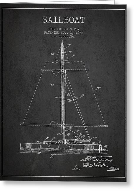 Sailboat Art Greeting Cards - Sailboat Patent from 1932 - Dark Greeting Card by Aged Pixel
