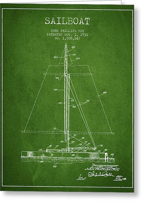Sailing Digital Greeting Cards - Sailboat Patent from 1932 - Green Greeting Card by Aged Pixel