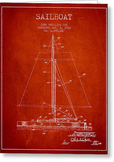 Sailing Digital Greeting Cards - Sailboat Patent from 1932 - Red Greeting Card by Aged Pixel