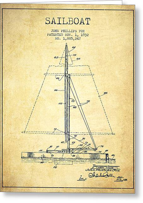 Sailing Digital Greeting Cards - Sailboat Patent from 1932 - Vintage Greeting Card by Aged Pixel