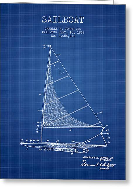 Sailing Boat Greeting Cards - Sailboat Patent from 1962 - Blueprint Greeting Card by Aged Pixel
