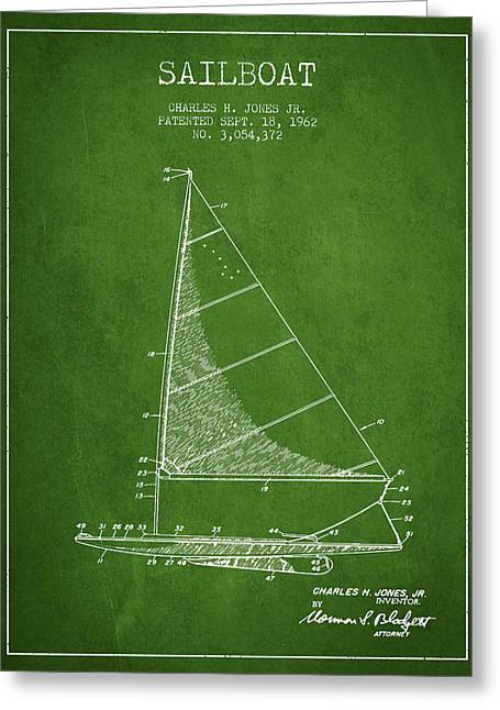 Sailing Digital Greeting Cards - Sailboat Patent from 1962 - Green Greeting Card by Aged Pixel