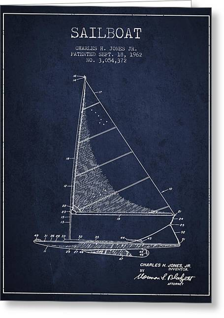 Sailboat Art Greeting Cards - Sailboat Patent from 1962 - Navy Blue Greeting Card by Aged Pixel