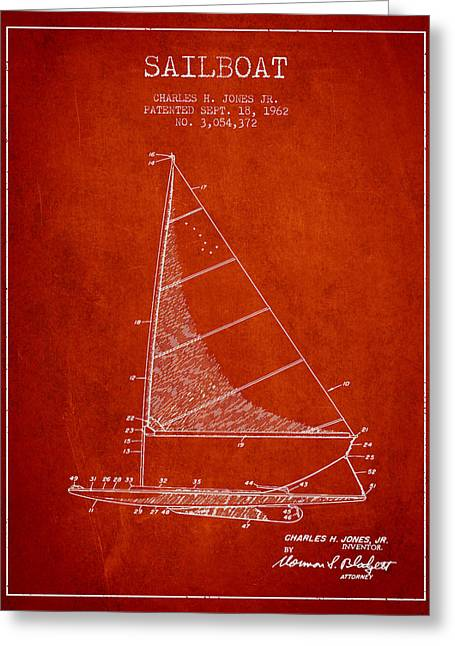 Sailing Digital Greeting Cards - Sailboat Patent from 1962 - Red Greeting Card by Aged Pixel