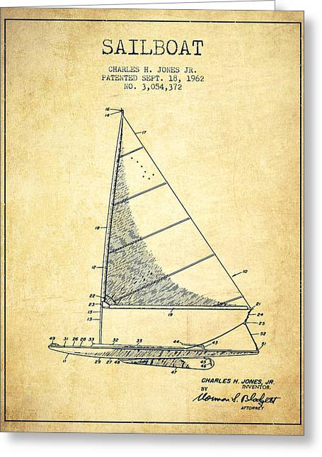 Sailing Digital Greeting Cards - Sailboat Patent from 1962 - Vintage Greeting Card by Aged Pixel