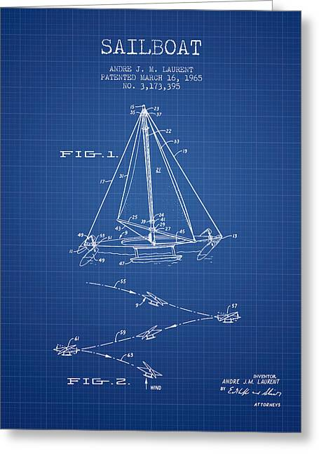 Sailboat Art Greeting Cards - Sailboat Patent from 1965 - Blueprint Greeting Card by Aged Pixel