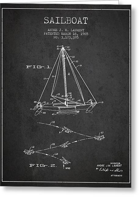 Sailboat Art Greeting Cards - Sailboat Patent from 1965 - Dark Greeting Card by Aged Pixel