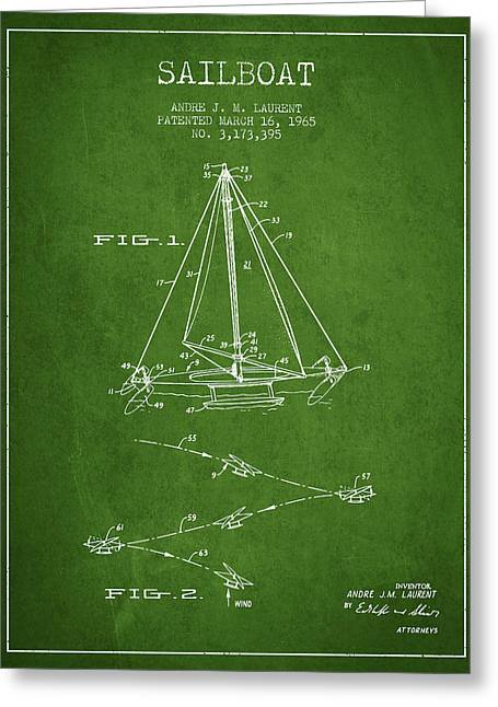 Sailboat Art Greeting Cards - Sailboat Patent from 1965 - Green Greeting Card by Aged Pixel