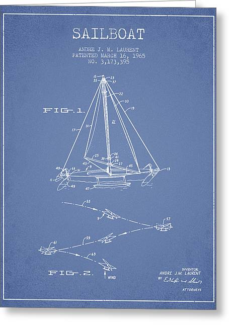 Sailboat Art Greeting Cards - Sailboat Patent from 1965 - Light Blue Greeting Card by Aged Pixel